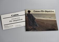 CANON FD Objektive - Broschüre, Prospekt, Anleitung, Manuel, Gebrauchsanweisung
