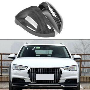 For Audi A4 B9 2017-2018 Side Mirror Cover Cap Carbon Fiber Replacement 2PCS