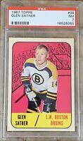 1967 1968 TOPPS Glen Sather PSA 7 ROOKIE RC #38 Bruins Boston NM Near Mint