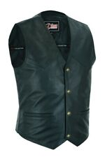 Mens Real Leather Waistcoat Casual Formal Classic Black Biker Vest Genuine