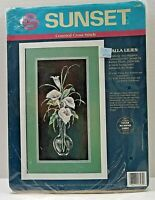"Vintage '93 Counted Cross Stitch Kit Calla Lilies Sunset Brand 8"" X 16"" Open Pkg"