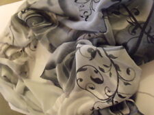 ECHARPE FOULARD SCARF blanc gris FLOWERS FLEURS /NEW