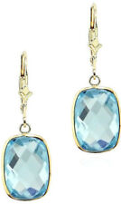14K Yellow Gold Dangle Earrings With Cushion Cut Blue Topaz Gemstones