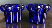 Two Vintage Reims France Cobalt Blue Glass Votive Taper Candle Holders excellent