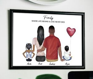 A4 Personalised Family Portrait Print Gift Pet Kid Any quote