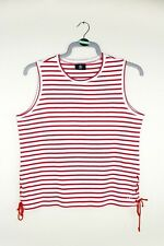 VINTAGE Stripe Red White Corset Lace Up Nautical Retro Pattern Top T-Shirt M 14