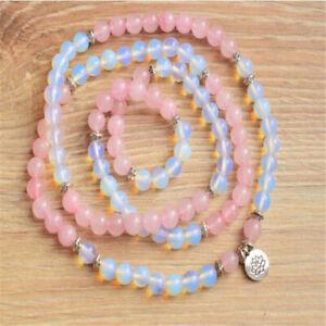 6mm Natural moonstone Pink 108 Mala Bracelet Wristband Bless Lucky Meditation