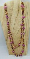 """Pink and Purple 2 Strand Necklace, 30"""""""