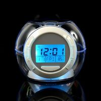 7 Color Changing Lights  LED Digital Timer Sounds Alarm Snooze Clock Thermometer