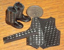 Dollhouse Miniature Prestige Cowgirl Black Leather Belt Boots Vest 1:12 #C23-BBV