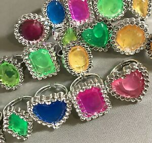 CLOSEOUT 75 Princess Gem Shapes Rings Colorful Bulky Jewelry Kid's Children's