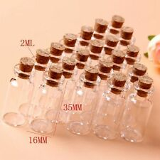 Tiny Mini Empty Clear Cork Glass Bottles Vials 2ml
