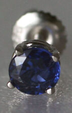 Mens 14K White Gold 0.65ct Kashmir Blue Sapphire Screw Back Single Stud Earring