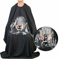Hair Cutting Barber Cape with Window Phone Viewing Apron Stylist Gown US