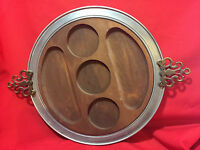Vintage Chip and Dip Serving tray hors d'ouvre wood insert brushed aluminum tray