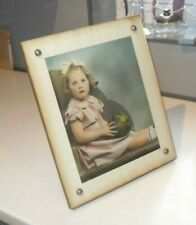 ART DECO 1920s LARGE FRAMELESS FREE STANDING GLASS & WOOD PHOTO PICTURE FRAME