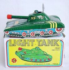 China Mf-721 Chinese Light Tank Poppin' Out Driver Friction Tin Toy Mib`75 Rare!