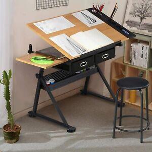 Adjustable Drawing Table Drafting Desk Art Craft Painting Board Drawer Stool Set