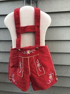 Child's Boys Red Fabric German Lederhosen Pants Size 154