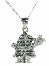Solid 925 Sterling Silver Christmas Santa Claus Pendant Necklace '