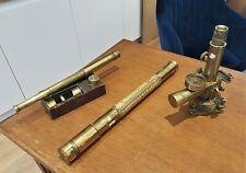 Collection de 3 instruments d'optique, longue-vue, arpentage, Stanley et Bordé