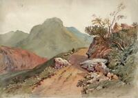 POSSIBLY QUARRY CONISTON LAKE DISTRICT? Watercolour Painting 19TH CENTURY c1853