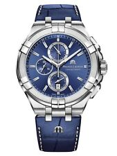 AUTHORIZED DEALER Maurice Lacroix Aikion AI1018-SS001-430-1 Blue Leather Watch
