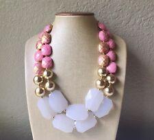 Pink gold White Statement Necklace Chunky Bib Big Beaded Jewelry Blush