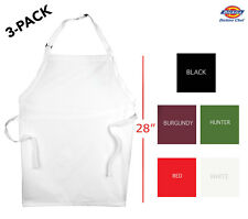"3-Pack Dickies Chef Adjustable Bib Apron 28"" Long Dc501"