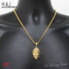 "20""MEN Stainless Steel 4.5mm Gold Cuban Curb Chain Necklace HEAVY BUDDHA Pendant"
