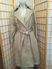 London Fog Khaki Double Breasted Winter Rain Trench Coat Womens Size 6 P