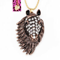Betsey Johnson Crystal Big Horse Head Pendant Sweater Chain Animal Necklace Gift