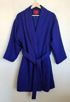 Narciso Rodriguez Womens Wrap Coat Cobalt Blue 3/4 Length Belt Pockets Lined L