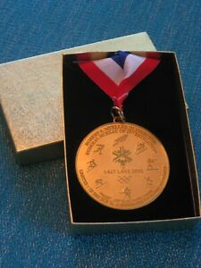 2002 SALT LAKE OLYMPICS F.B.I./ D.O.J. MEDALLION w/ LANYARD in ORIG. BOX
