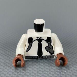 LEGO Minifigure White Torso Tie Shoulder Holster White Arms Reddish Brown Hands