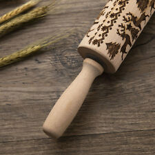 Christmas Rolling Pin Engraved Rolling Pin Wooden Embossed Rolling Pin AU Stock!
