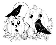 New ListingHalloween Autumn Unmounted Rubber Stamp - Crows and Pumpkins New