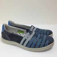 Women's AHNU Navy Blue Leather Denim Strappy Slip On Casual Comfort Shoes Sz 6.5