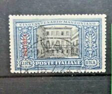 """ITALIA COLONIE - ERITREA 1924 """"MANZONI"""" £ 1 TIMBRATO USED (CAT.W)"""