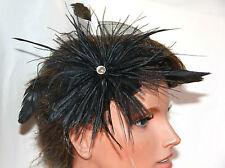 Black Feather Fascinator Headpiece Hair Accessory Clip Weddings Christenings
