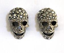 Butler Y Wilson Grande en Plata Cristal Cráneo Tachuelas Pendientes Nueva