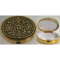 Damascene Gold Star of David Design Oval Pill Box by Midas of Toledo Spain 8534