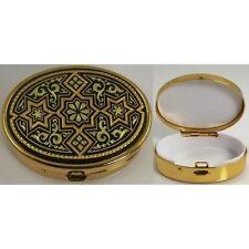 Damascene Gold Star of David Design Oval Pill Box by Midas of Toledo Spain 8534