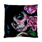 Day of the Dead Sugar Skull Girl Tattoo Art Cushion Pillow Case Cover Square