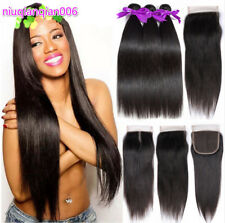 Brazilian Straight Hair 3Bundles With Top Closure Virgin Human Hair Extensions