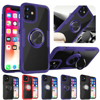 For Apple iPhone 12 Pro Max 12 Mini Clear Hard Phone Case with Ring Holder Cover