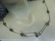 """Vintage Sterling Silver 0.925 18"""" Necklace 21 FORGET-ME-NOT Flowers"""
