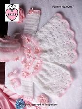 BEAUTIFUL Baby coat bonnet booties crochet pattern  DK wool. Matinee set Romany