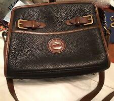 Dooney Bourke Vintage All Weather Leather Zip Top Buckle Crossbody Black Brown