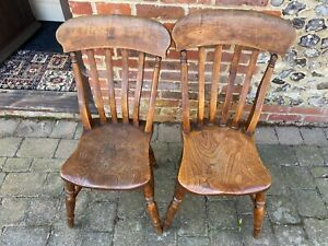 Antique Pair Slat Back Chairs Elm Seat Super Patination  & Character